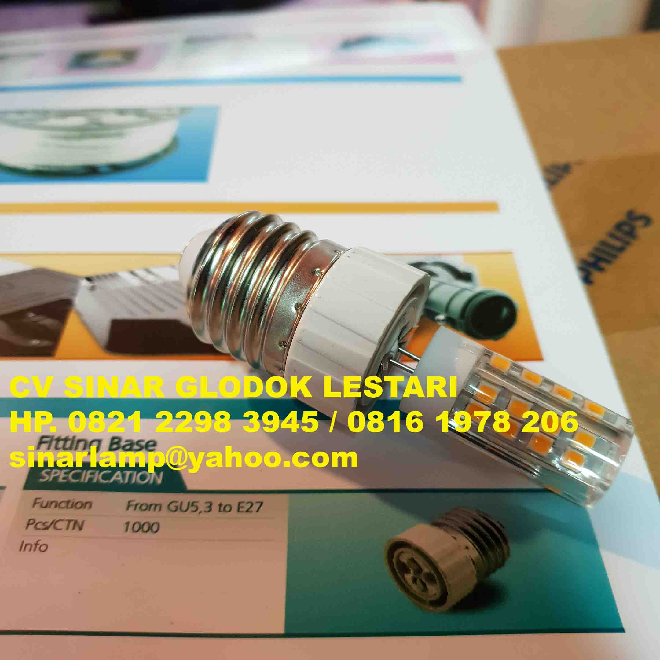 Fitting Lampu Over E27 Ulir ke GU 5.3 MR16 Tusuk