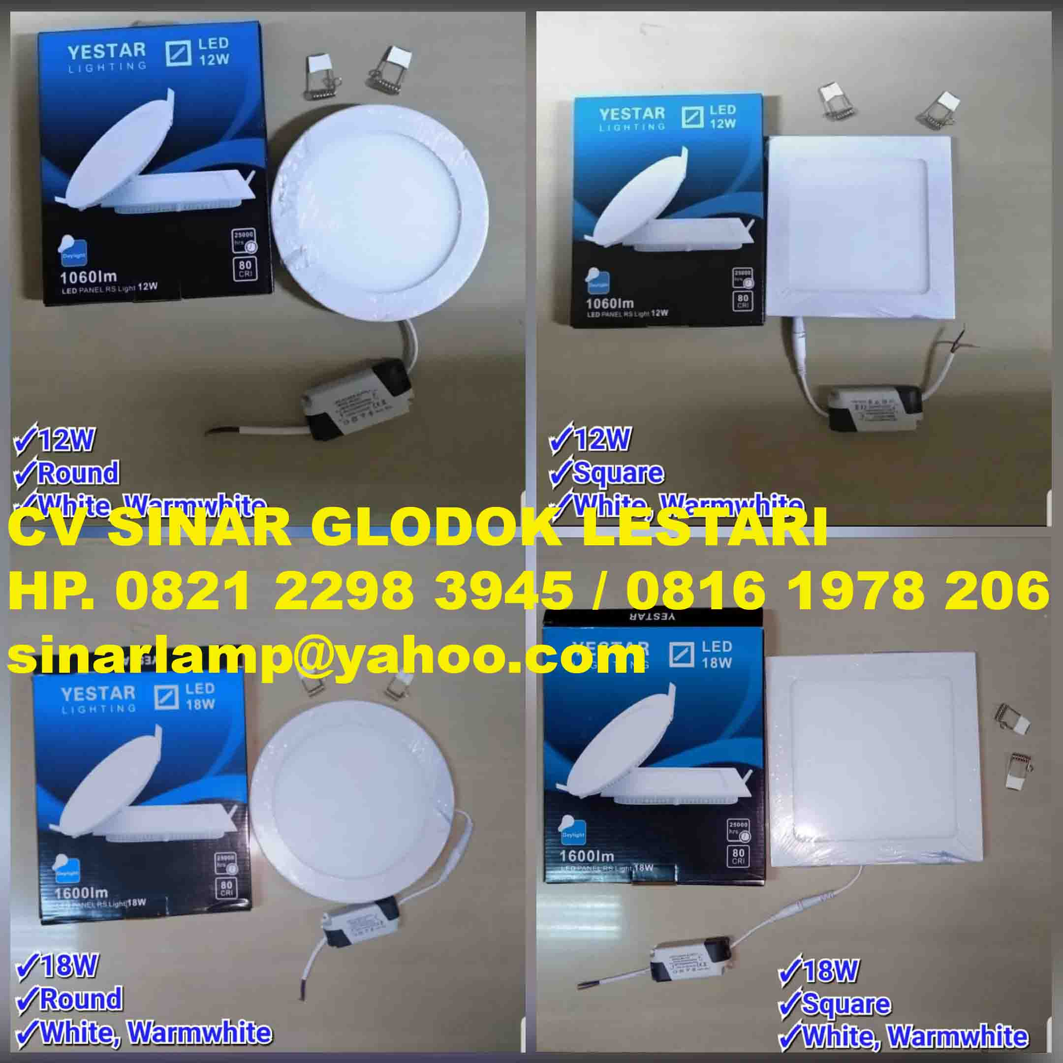 Lampu Downlight LED 12 watt dan 18 watt Yestar