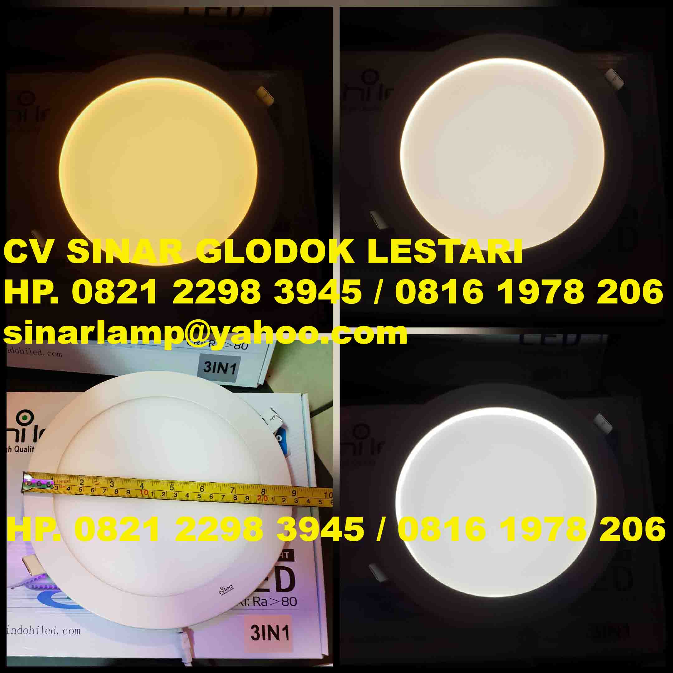 Lampu Downlight LED 12 watt 3 IN 1 6500K 4000K 3000K