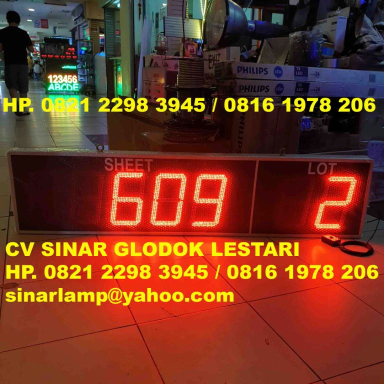 Electronic Production Scoreboard atau Display Counter Produksi SHEET and LOT