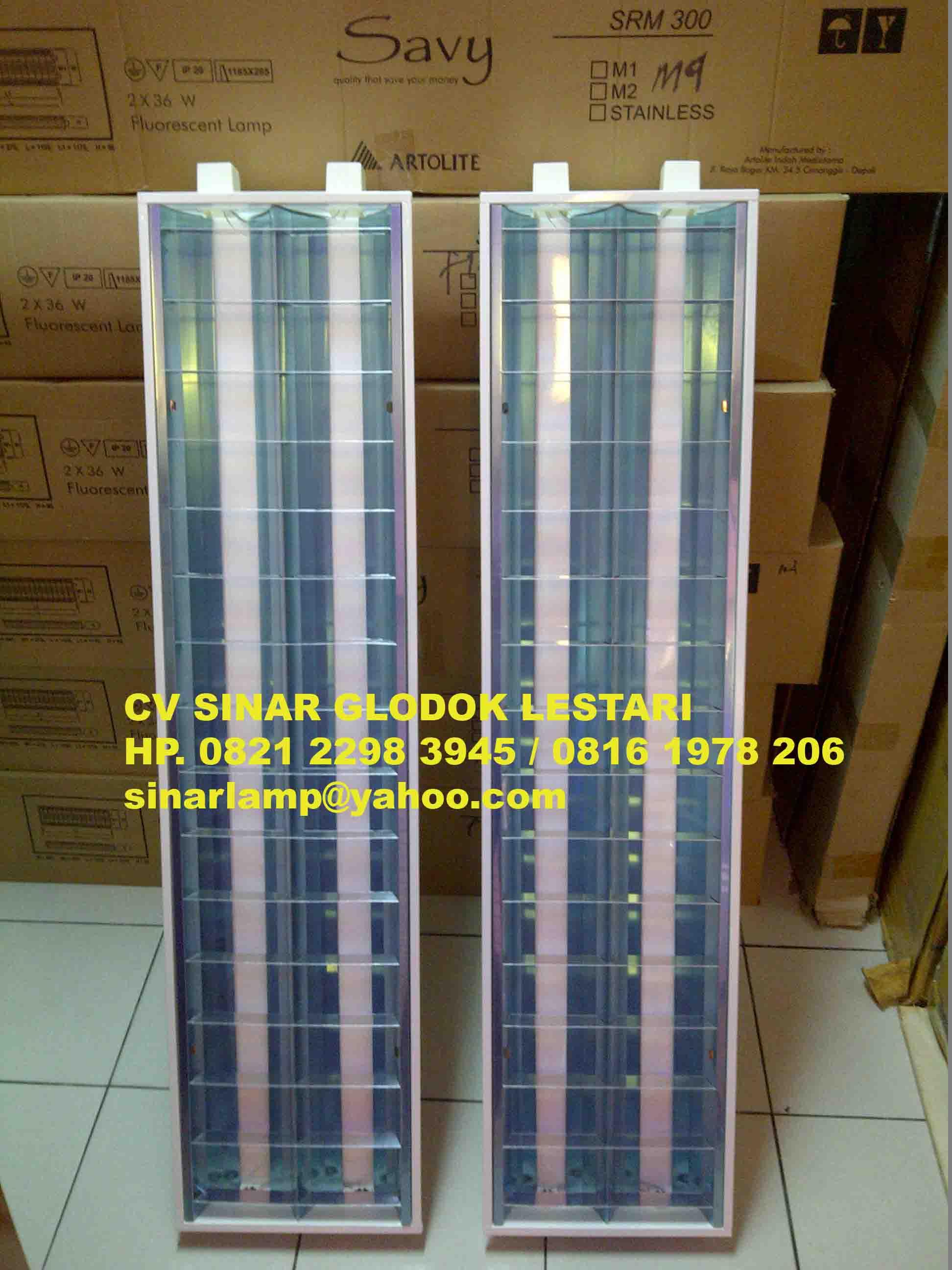 kap lampu tl kap lampu rm 2 x 36w m4 savy merk artolite