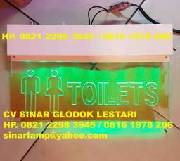 Lampu Exit Sign Toilet LED Transparent QD-LBS-001R