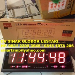 Jam Dinding Digital LED Jumbo HG 2368 Merah