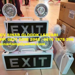 Lampu Emergency EXIT + Twin Lamp LED Mata Kucing
