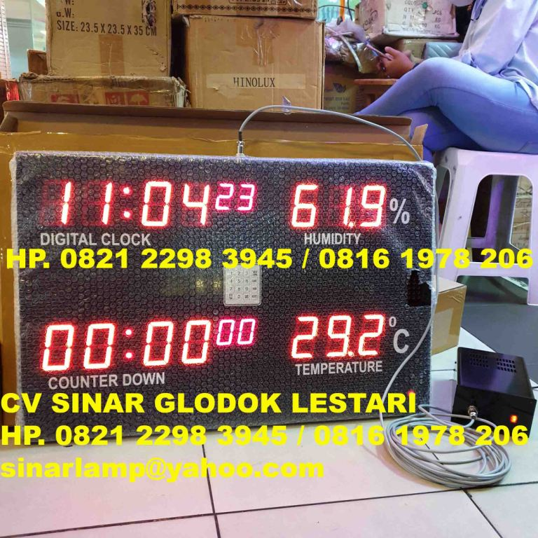 Display RS Timer Hitung Mundur Counting Down, Jam, Humidity dan Temperature